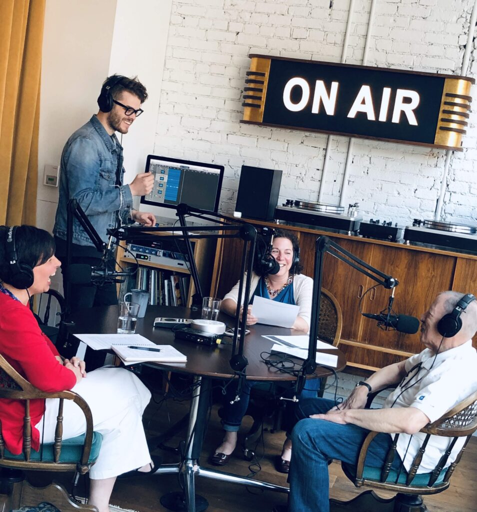 Lynne Golodner at the make meaning podcast studio
